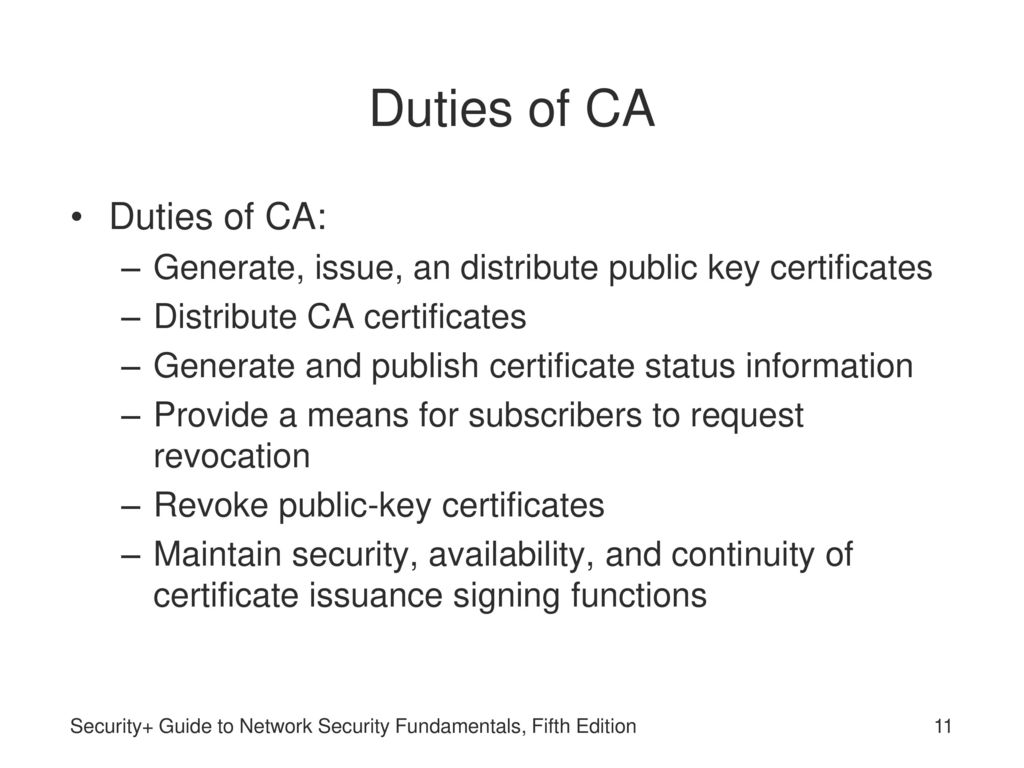 Security guide to network security fundamentals fifth edition duties of ca duties of ca xflitez Image collections