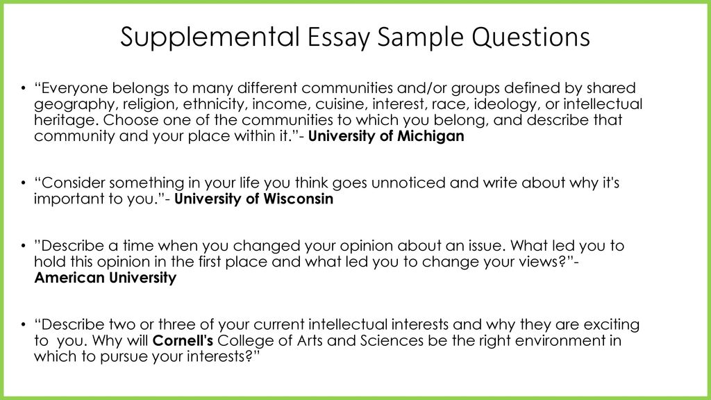 college admission essays ppt  9 supplemental essay sample questions ""
