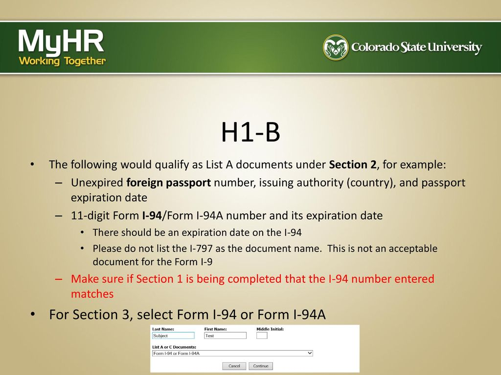 Completing the form i 9 the electronic process ppt download h1 b for section 3 select form i 94 or form i falaconquin