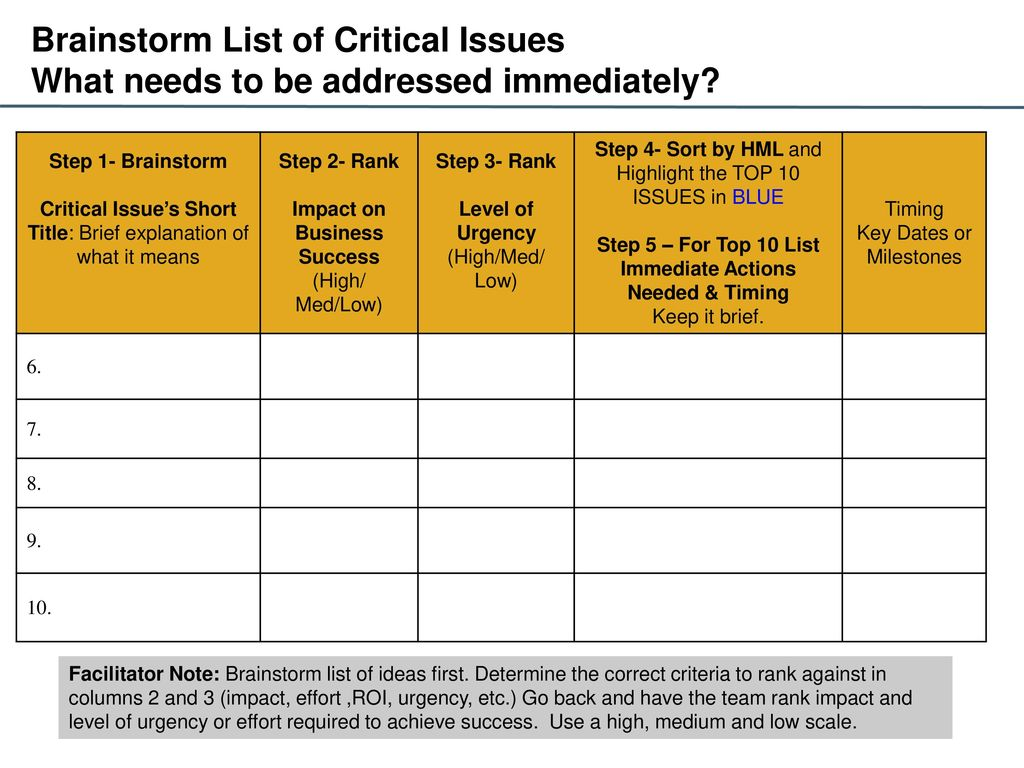 Business Plan Tips : Identifying Critical Issues