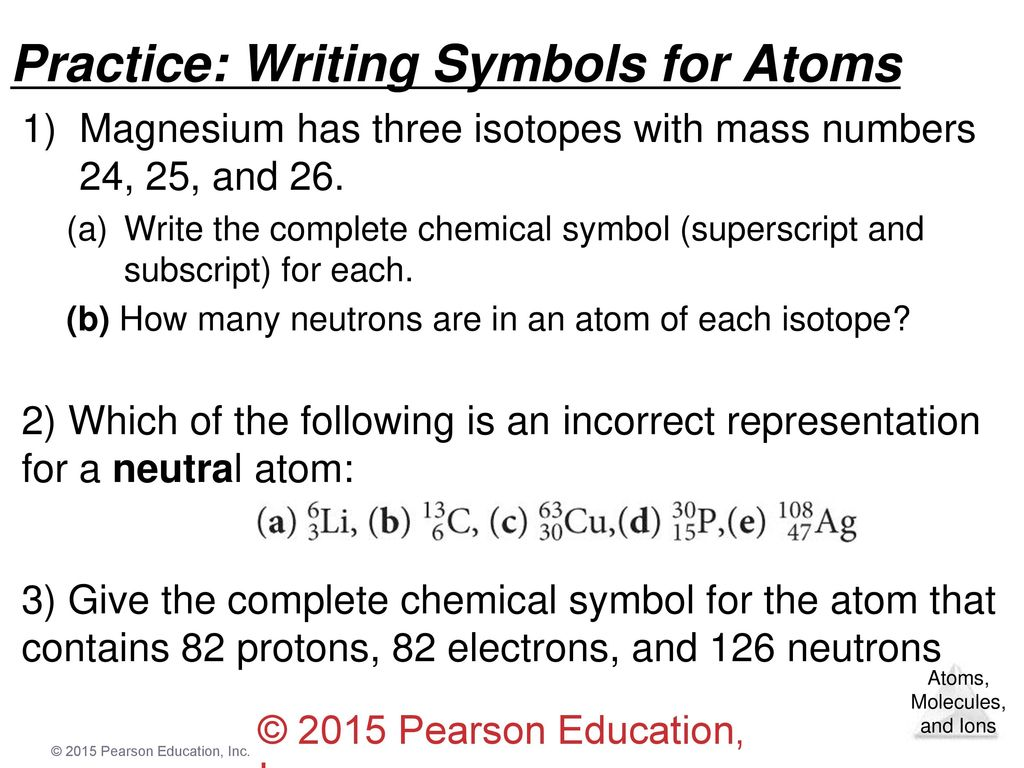 Chapter 2 atoms molecules and ions ppt video online download practice writing symbols for atoms buycottarizona