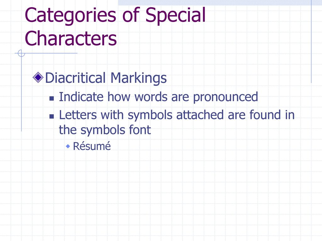 Enhancing documents with appropriate typography choices ppt download 19 categories of special characters diacritical markings indicate how words are pronounced letters with symbols biocorpaavc