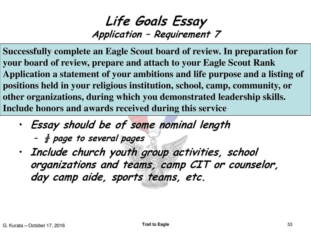 Life goals essay high school