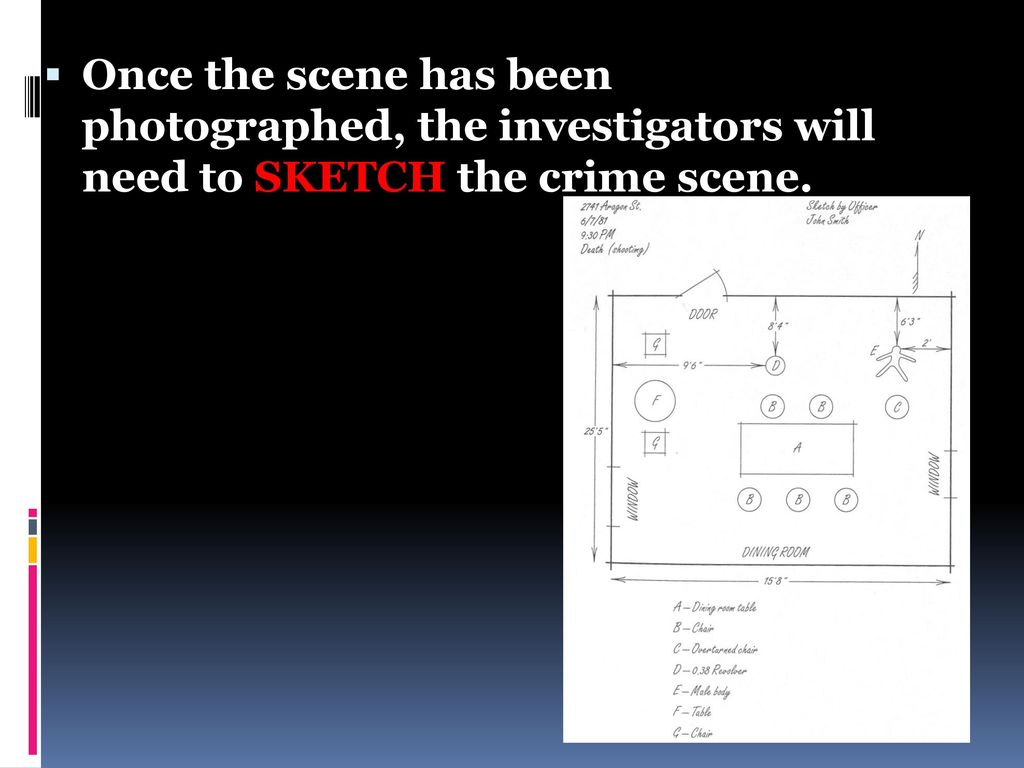 Once the scene has been photographed, the investigators will need to SKETCH the crime scene.