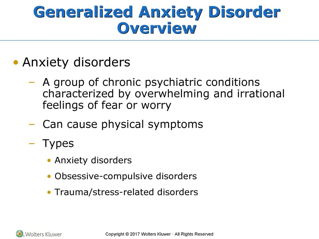 Generalized anxiety disorders causes and therapies