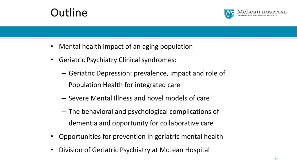 mental health of geriatric population comparison According to the mental health commission of canada, mental health problems, including depression, account for about 30% of short‐term and long‐term disability claims in fact, in 2011, depression was found to be the leading cause of claims for disability in canada.