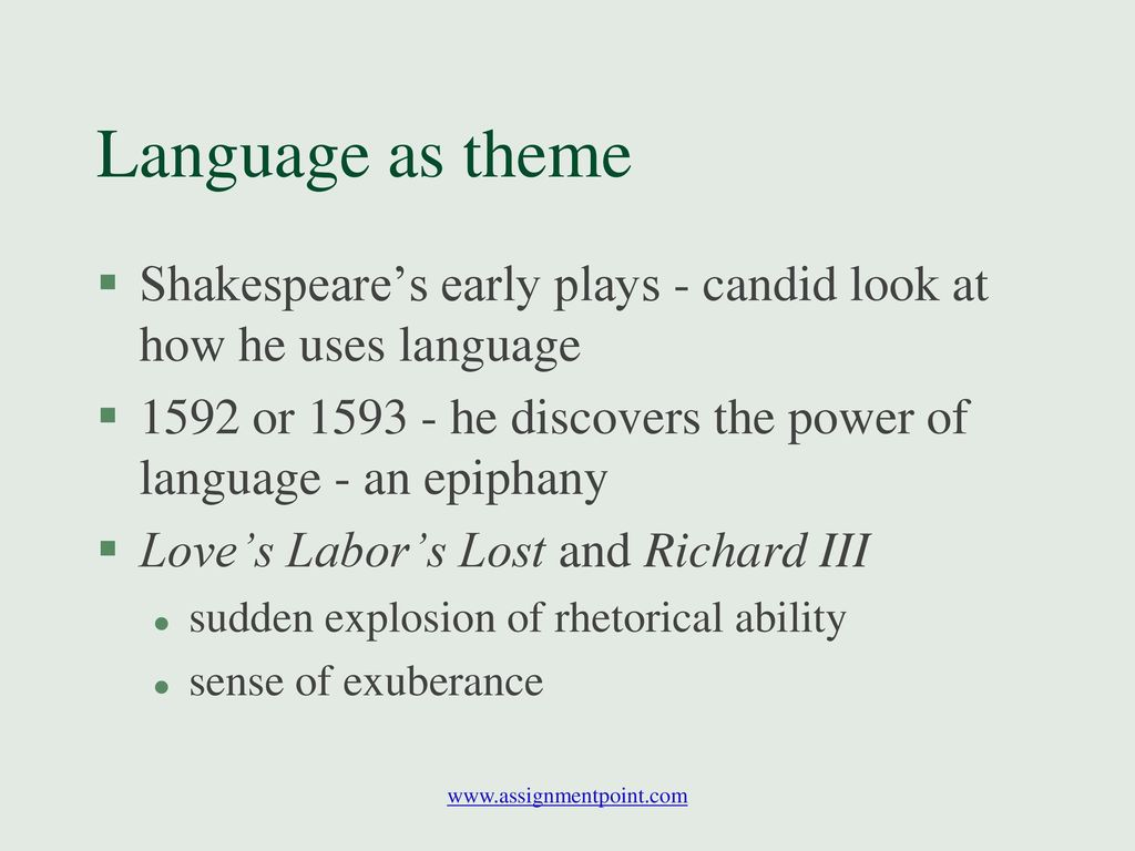 the power of language in shakespeares othello In two of shakespeare's plays, hamlet and othello, the power of words helps drive the central action of the plots while there are different motivations for characters to employ the power of words and language in both hamlet and othello , the result is generally the same.