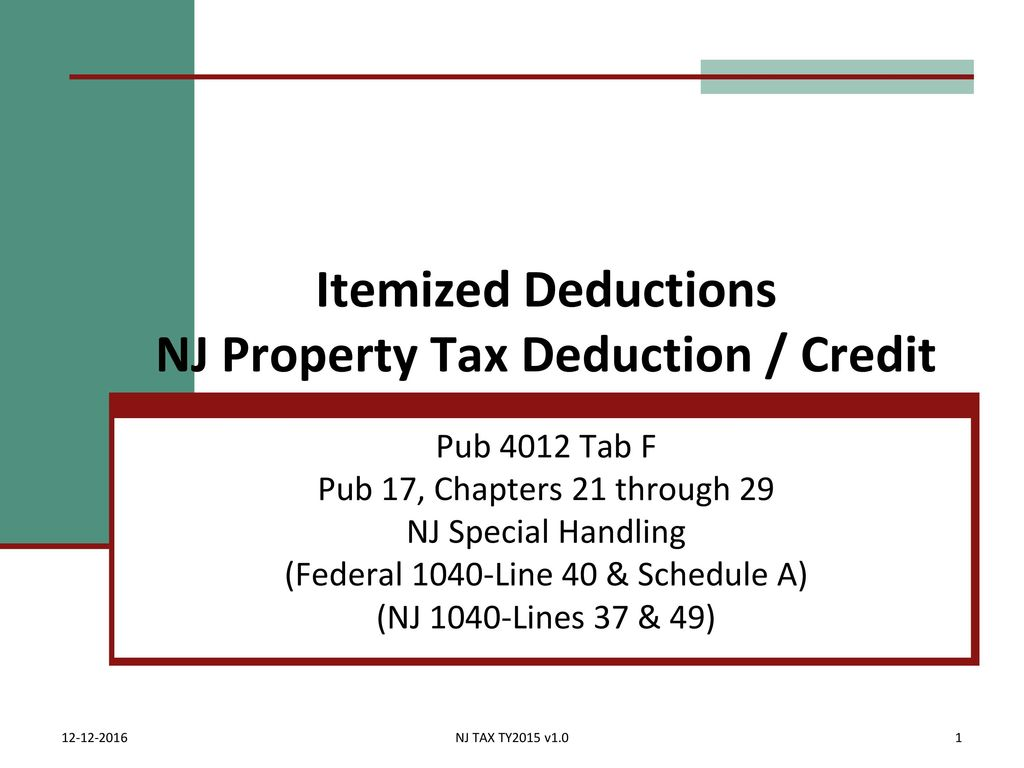 Itemized deductions nj property tax deduction credit ppt download itemized deductions nj property tax deduction credit falaconquin