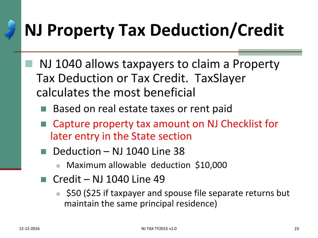 Itemized deductions nj property tax deduction credit ppt download 23 nj falaconquin