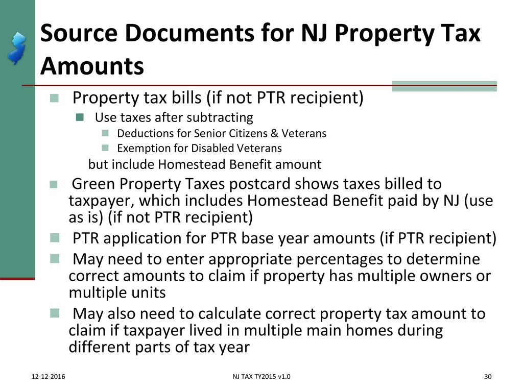 Homestead Property Tax Credit Nj