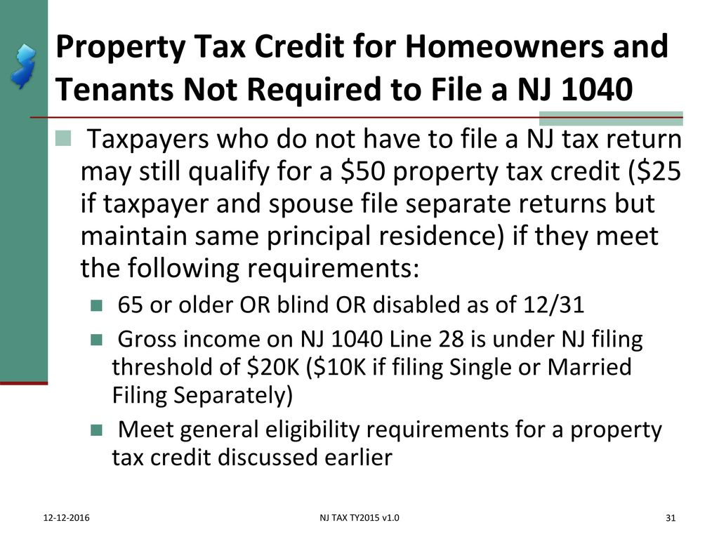Itemized deductions nj property tax deduction credit ppt download property tax credit for homeowners and tenants not required to file a nj 1040 falaconquin