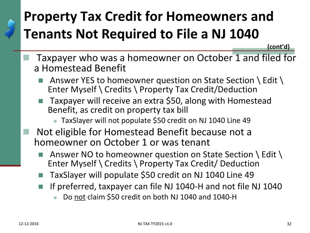 Itemized deductions nj property tax deduction credit ppt download property tax credit for homeowners and tenants not required to file a nj 1040 cont falaconquin