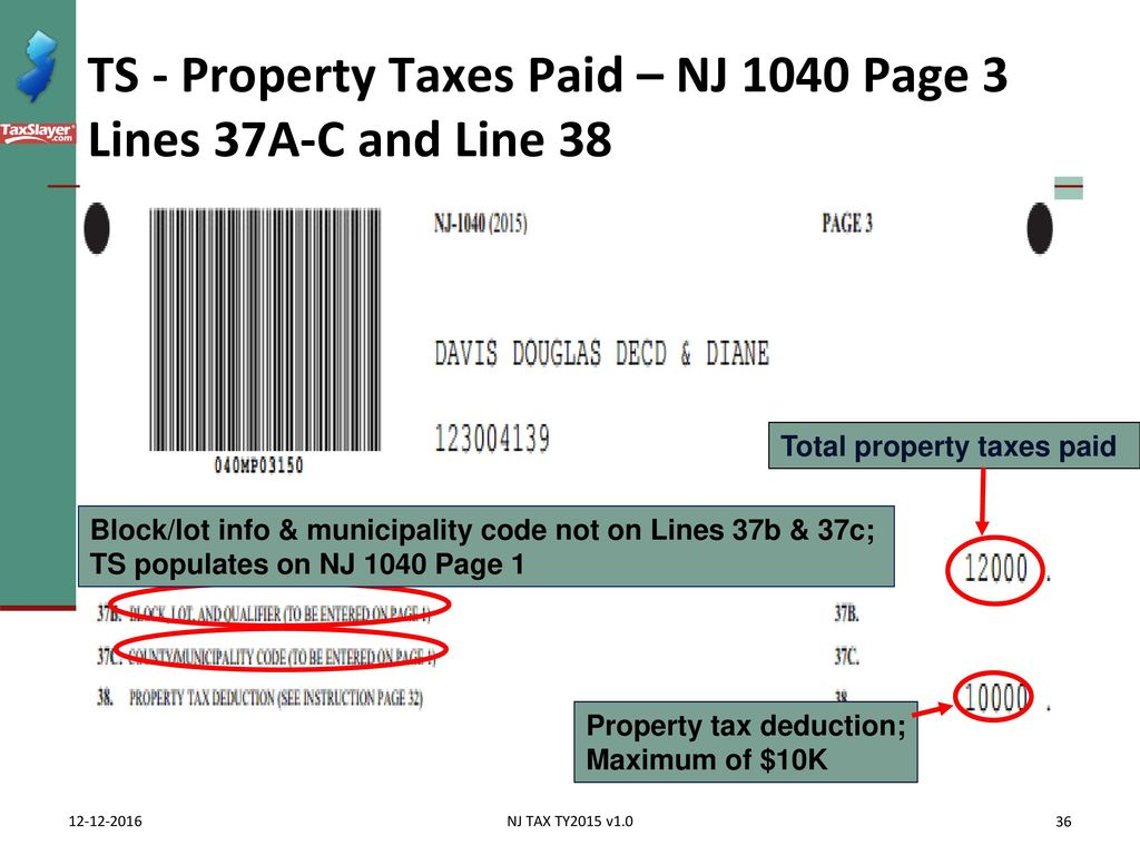 Itemized deductions nj property tax deduction credit ppt download ts property taxes paid nj 1040 page 3 lines 37a c and line falaconquin