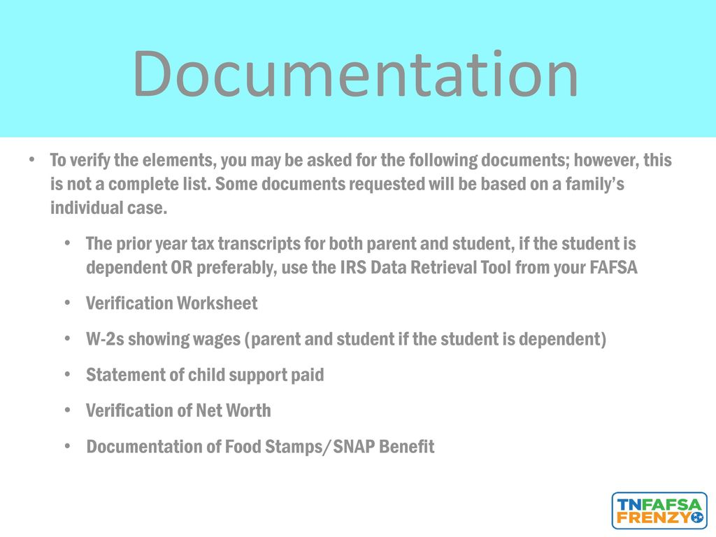 FAFSA Available October 1 ppt download – Dependent Verification Worksheet