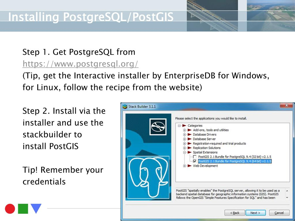 Installing postgresqlpostgis loading data manually ppt download installing postgresqlpostgis baditri Images