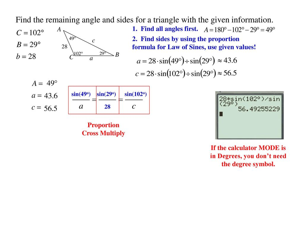 Section 71 72 oblique triangles non right triangle ppt find the remaining angle and sides for a triangle with the given information buycottarizona