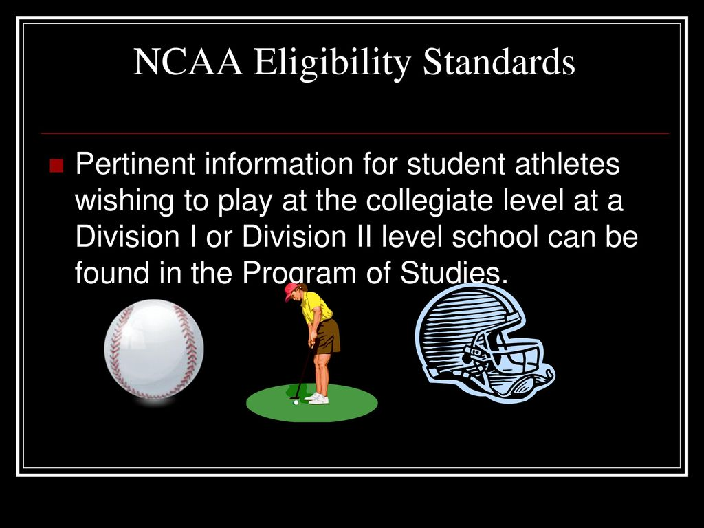 eligibility requirements to be a college athletes Information for college bound athletes in order to play division i or division ii  college athletics, high school students must meet first-year eligibility  requirements.