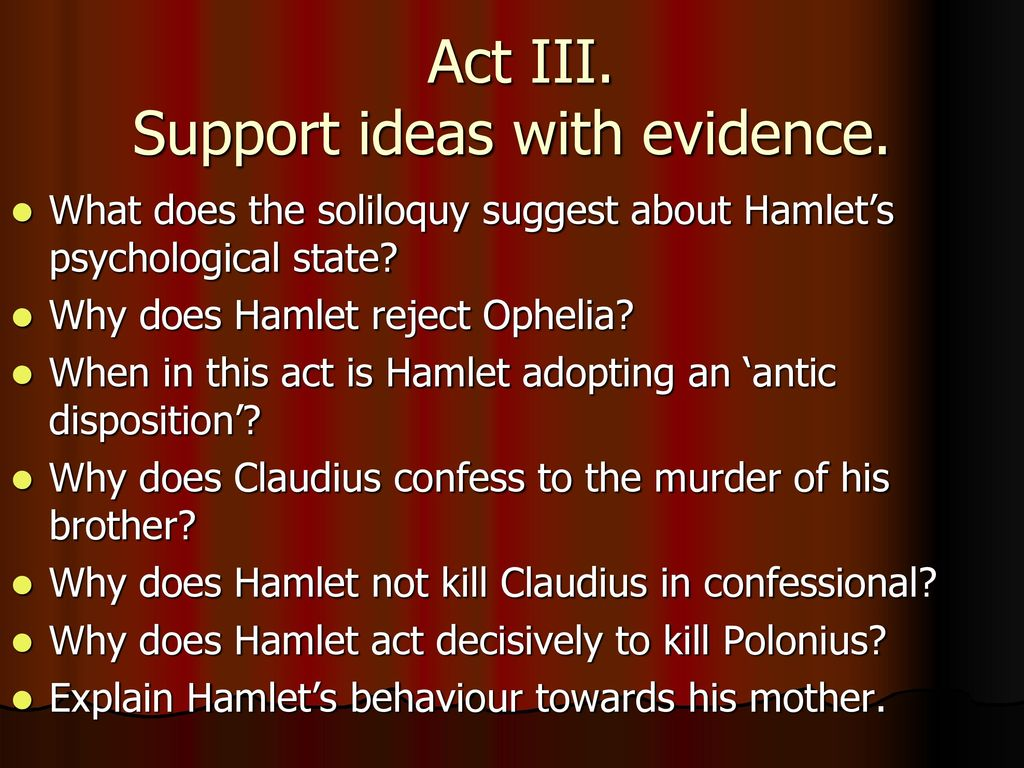 "a diagnosis of hamlets mental state from the play hamlet by william shakespeare Hamlet identifies with claudius it is hamlet's oedipal complex which  a guide to the play, ""shakespeare's hamlet,  shakespeare, william ""the."