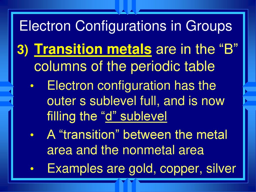 Chapter 6 the periodic table ppt download electron configurations in groups gamestrikefo Choice Image