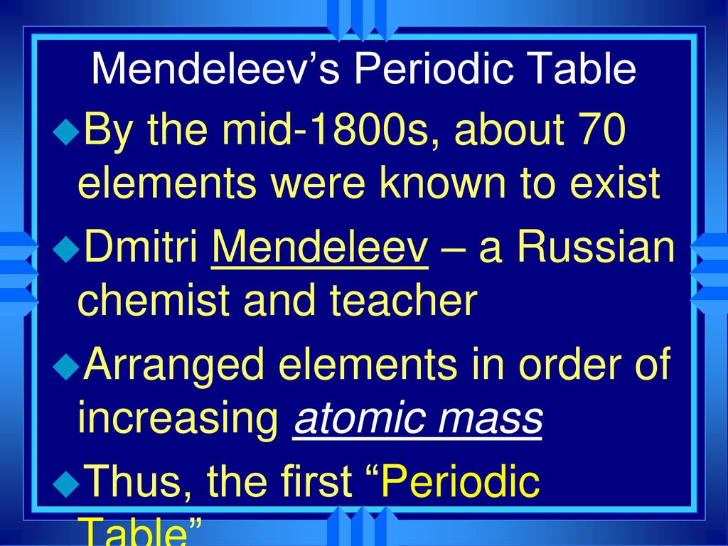 Chapter 6 the periodic table ppt download 7 mendeleevs periodic table gamestrikefo Images