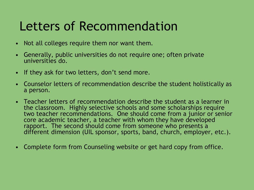 Private School Recommendation Letter: College Ppt Download