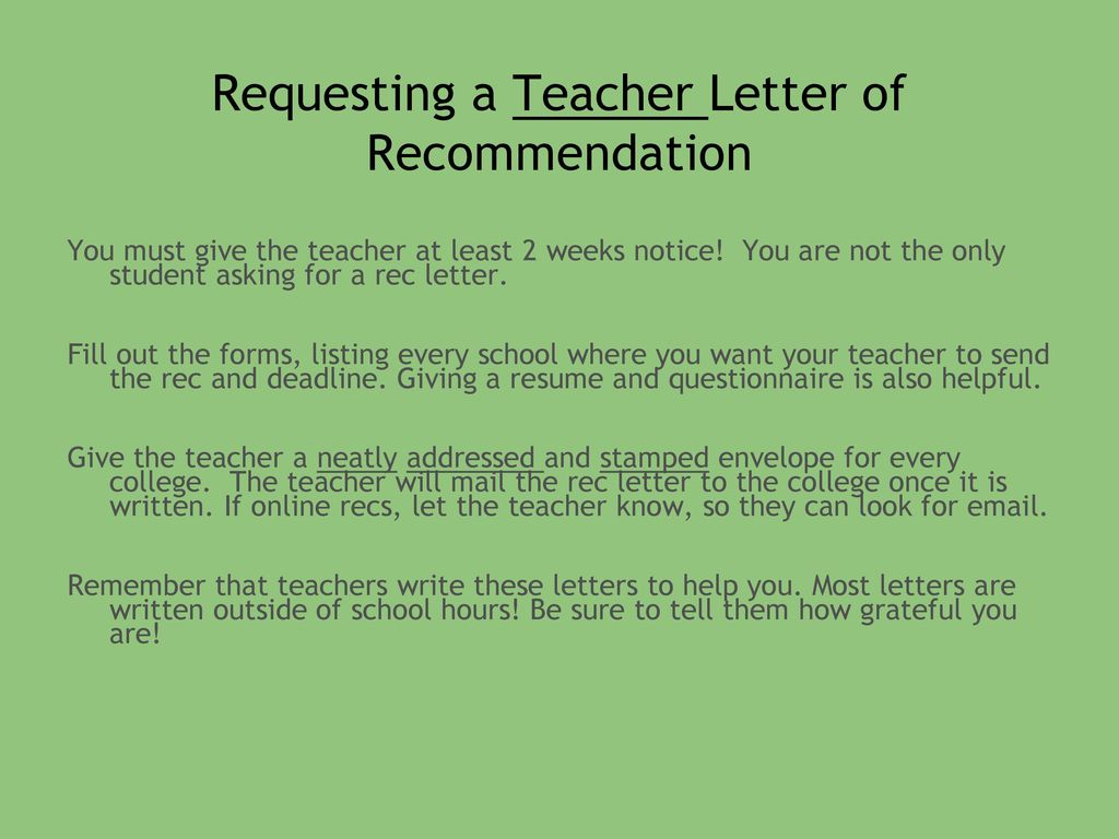 What To Give A Teacher Who Is Writing A Letter Of Recommendation