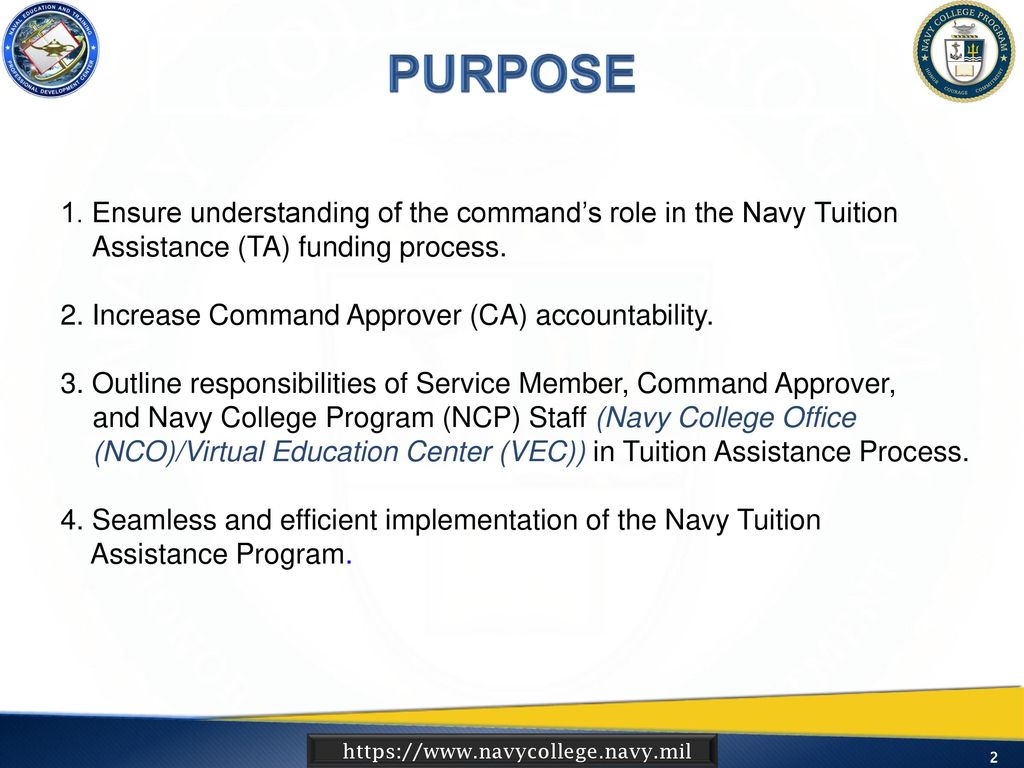 Ensure Understanding Of The Commandu0027s Role In The Navy Tuition Assistance  (TA