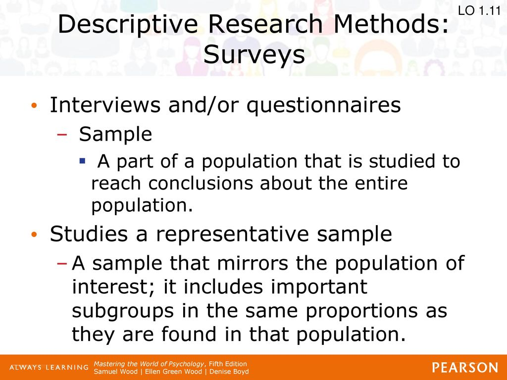 descriptive research methods in a psychology Free essay: one of of three methods used for descriptive research is the case study the case study method is the oldest form of research used in psychology.
