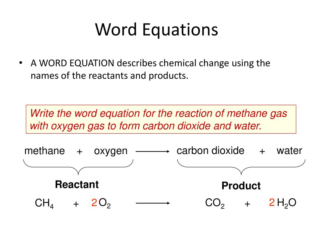 Chemical reactions ppt download word equations a word equation describes chemical change using the names of the reactants and products biocorpaavc Gallery