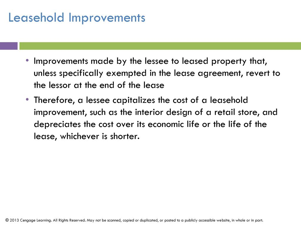 lease and leasehold improvements A leasehold improvement is an improvement made to a leased building by a  department that has the right to use this leasehold improvement over the term of  the.