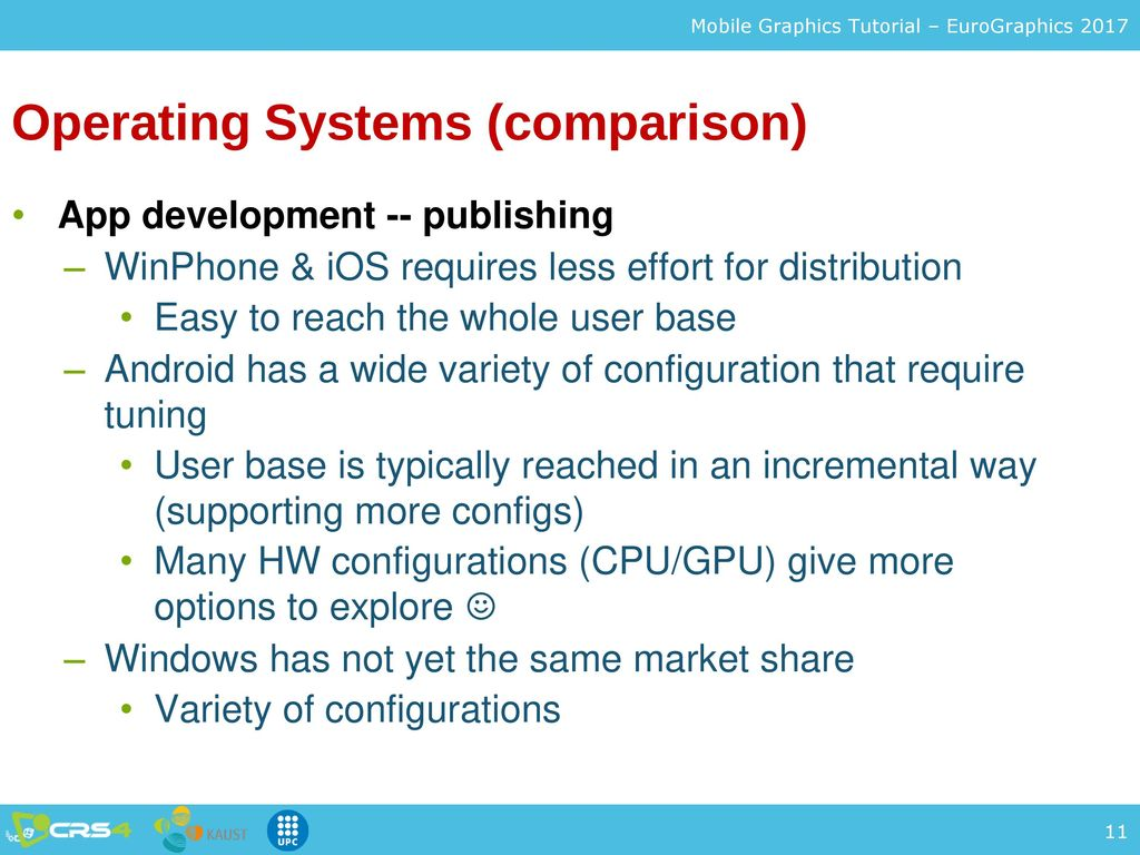 mobile operating systems feature comparison Abstract: mobile operating system is the heart of smart phone various mobile operating systems like android ios, windows phone, blackberry, tizen, sailfish os, ubuntu touch, firefox os are available each of them has some common as well as unique specialized features in this paper, we have considered four.