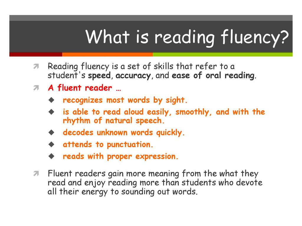 improving fluency Improving fluency, grades 3–8 this course focuses on assessing oral fluency, direct instruction in building fluency, research-based instructional techniques, and student practice activities for whole class, small-group, and.