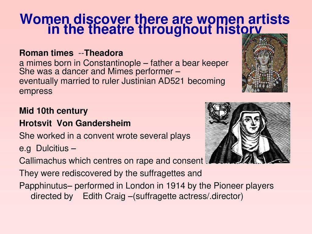 Women discover there are women artists in the theatre throughout history
