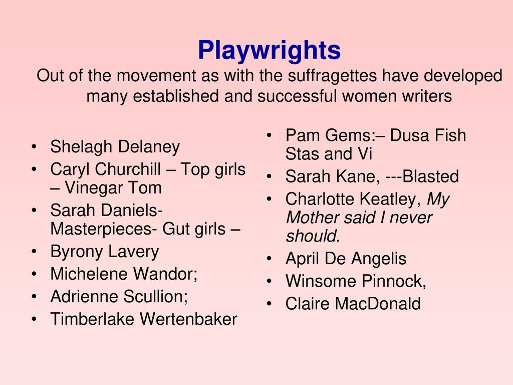 Playwrights Out of the movement as with the suffragettes have developed many established and successful women writers