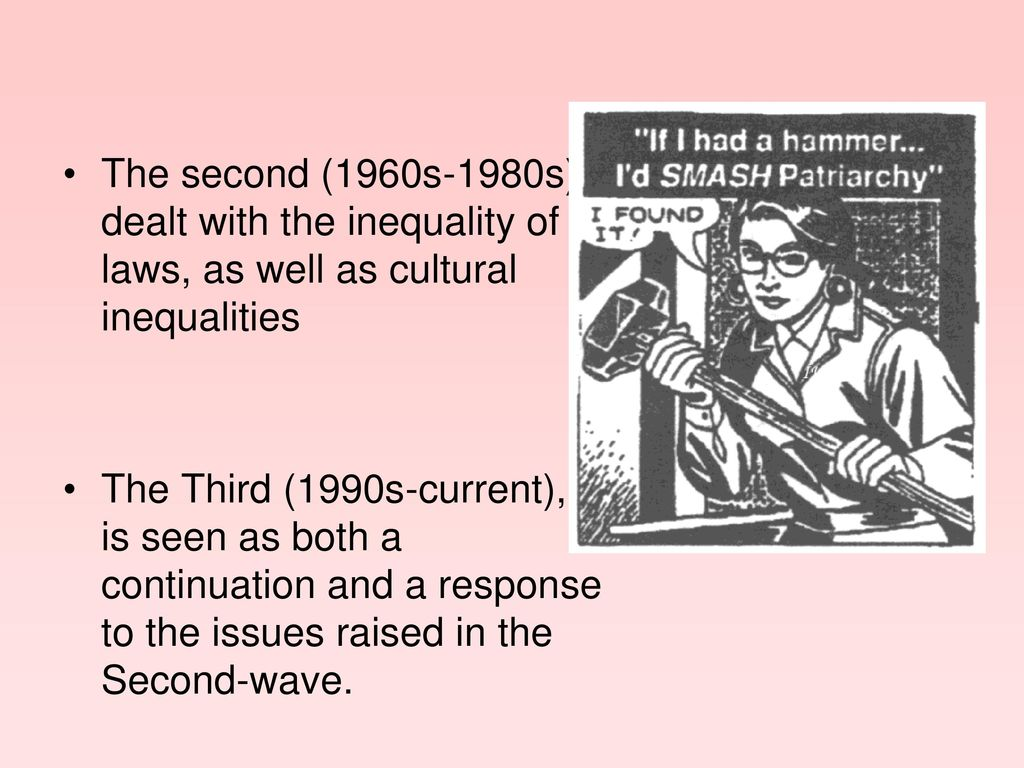 The second (1960s-1980s) dealt with the inequality of laws, as well as cultural inequalities