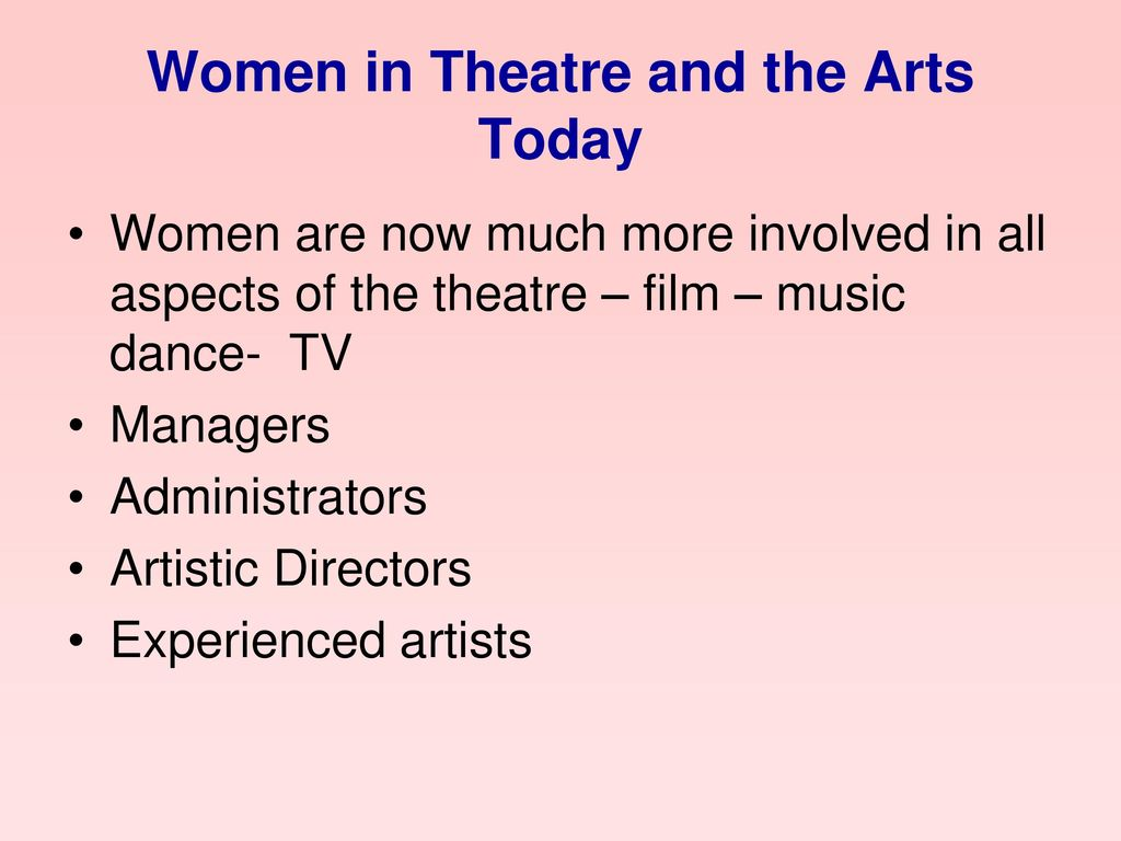 Women in Theatre and the Arts Today