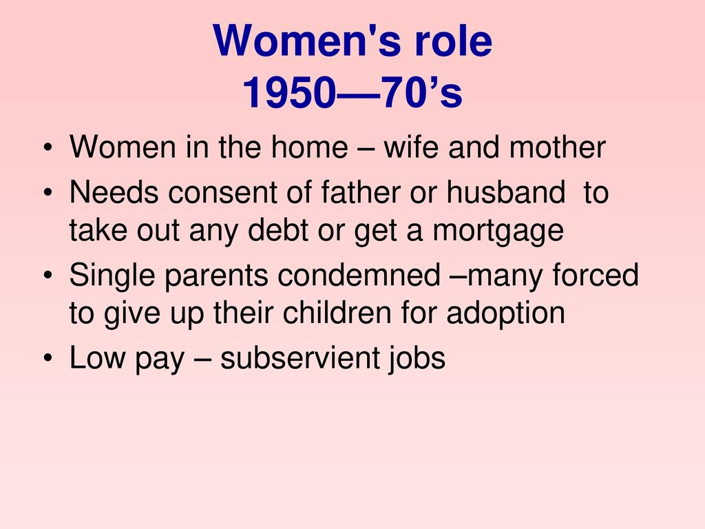 Women s role 1950—70's Women in the home – wife and mother