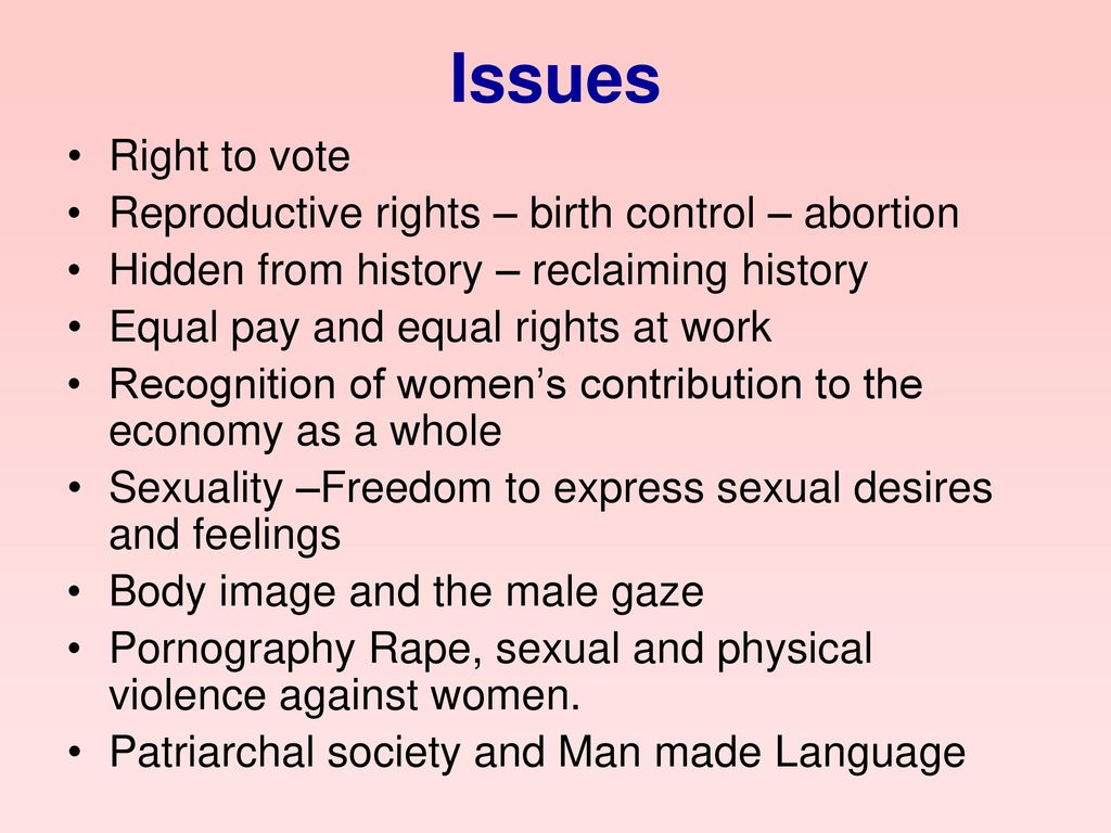 Issues Right to vote Reproductive rights – birth control – abortion