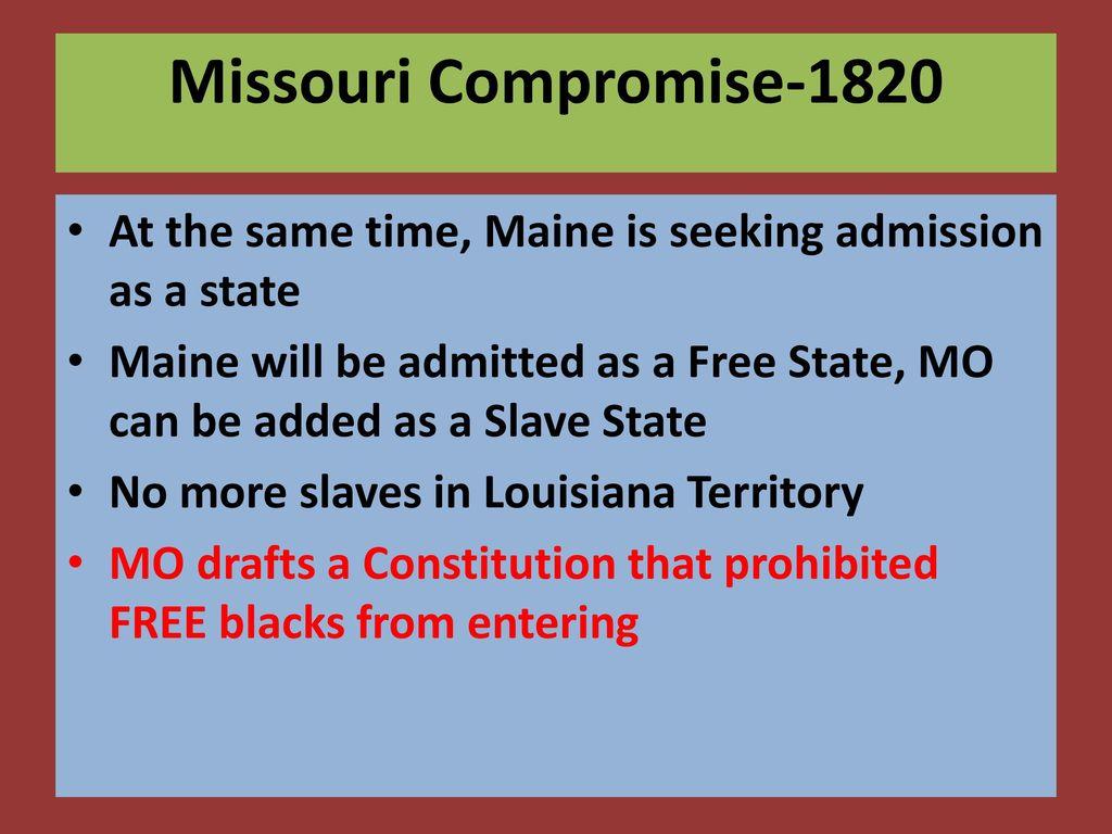 Missouri compromise date in Perth