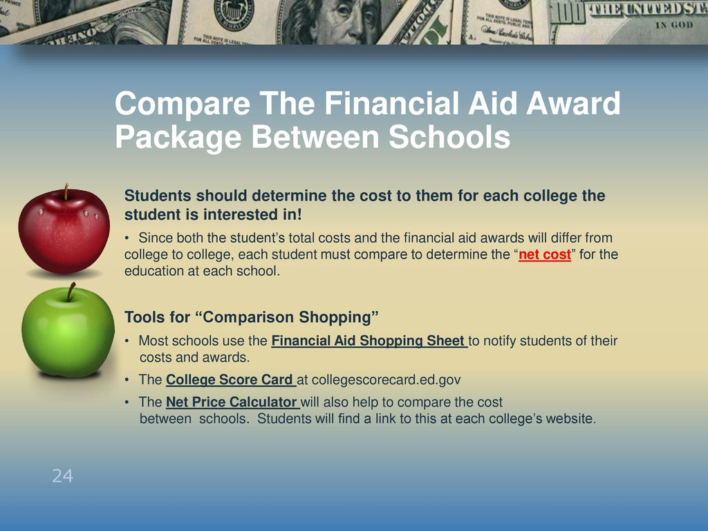 Compare The Financial Aid Award Package Between Schools