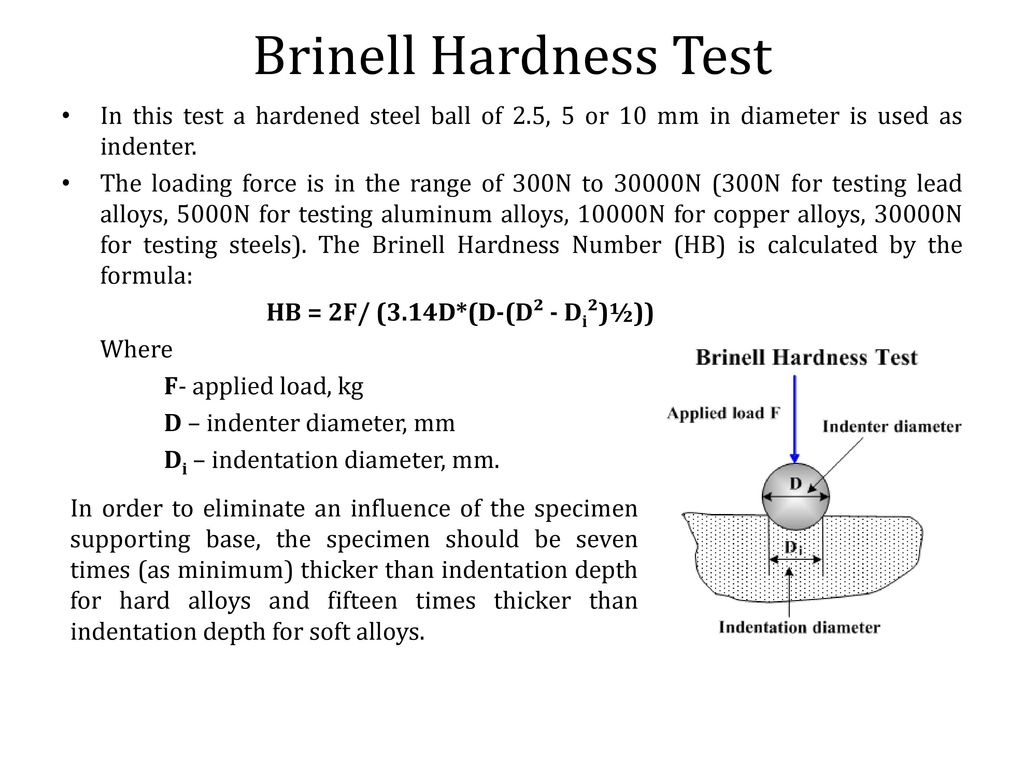brinell test The brinell, vickers and rockwell hardness  vickers and rockwell hardness testing  a penetrating ball of specific diameter is used in the brinell hardness test.