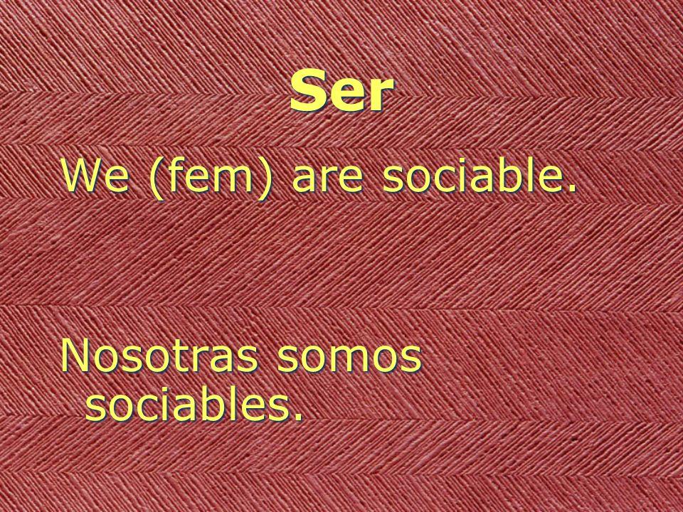 Ser We (fem) are sociable. Nosotras somos sociables.