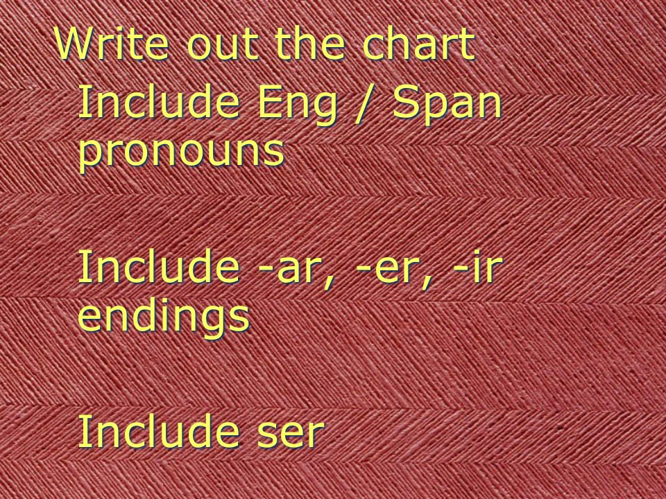 Write out the chart Include Eng / Span pronouns Include -ar, -er, -ir endings Include ser