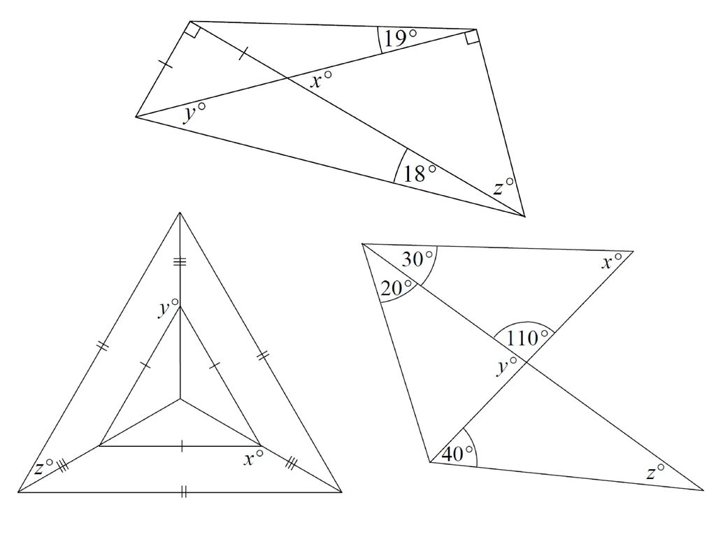 Finding missing angles in triangles worksheet doc