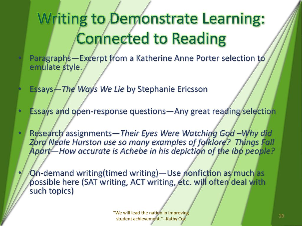 the reading and writing connection ppt  28 writing