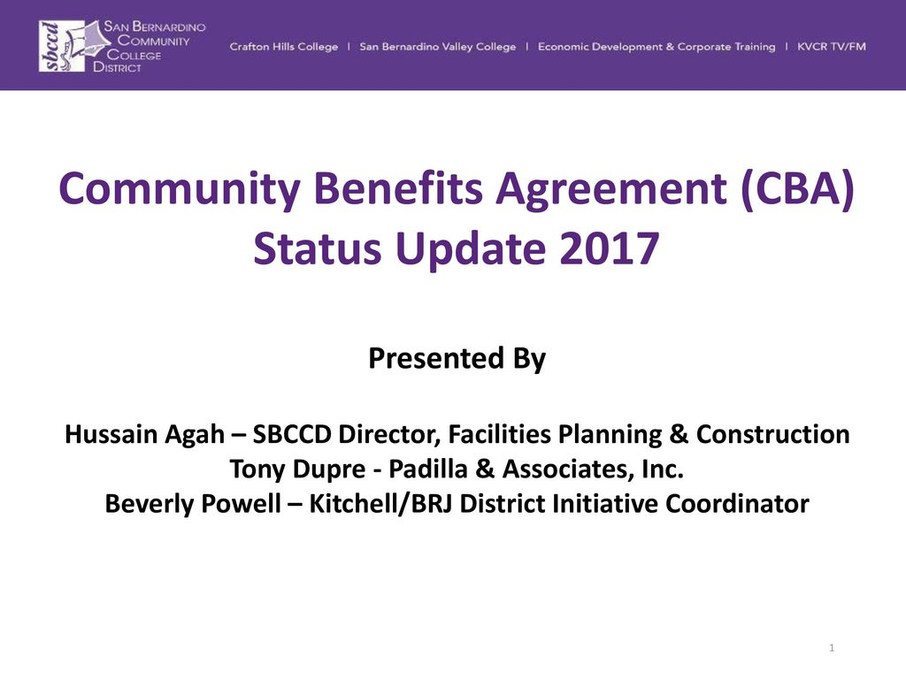 Community Benefits Agreement Cba Status Update Ppt Download