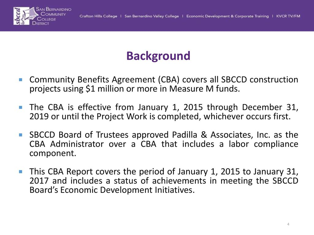 Community benefits agreement cba status update ppt download background community benefits agreement cba covers all sbccd construction projects using 1 million or platinumwayz