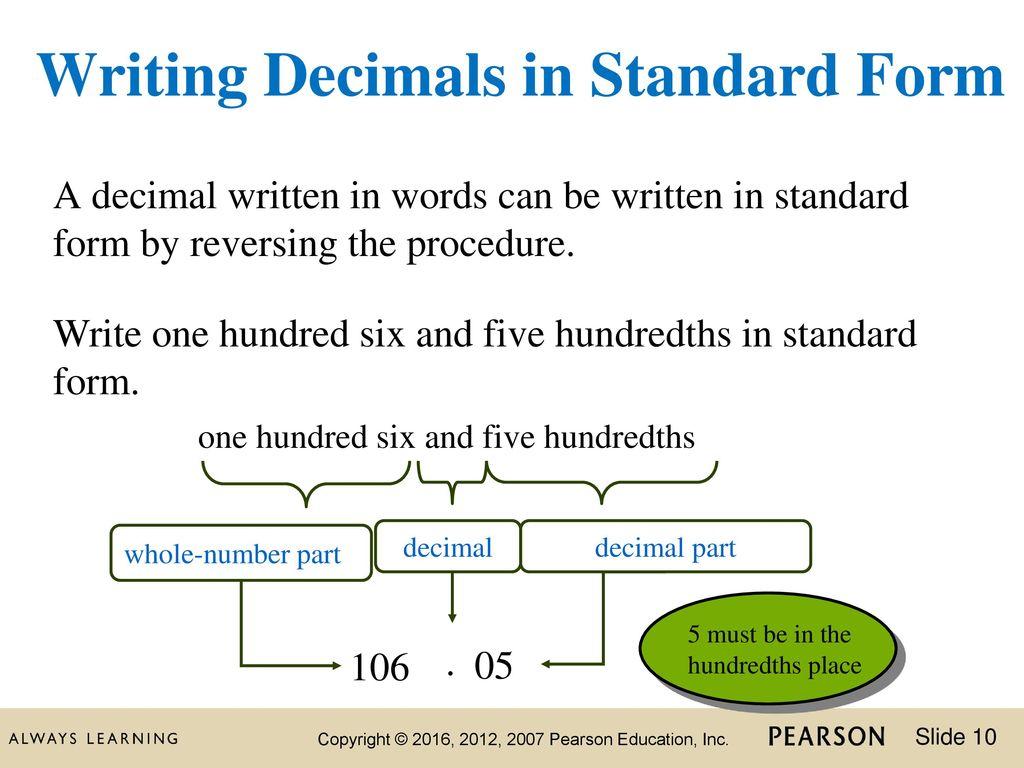 How To Write Decimals In Standard Form Seatledavidjoel