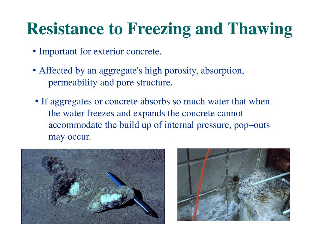 Physical properties of aggregates ppt video online download for What happens to concrete if it freezes