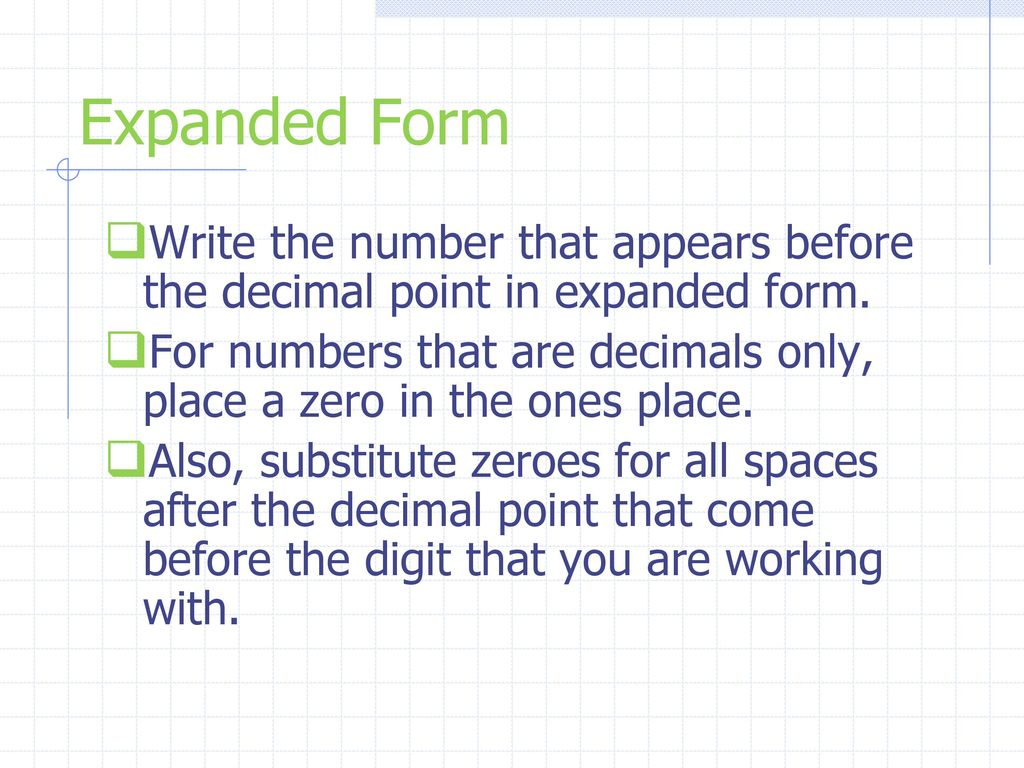 Writing Numbers In Expanded Form With Decimals Coursework Service